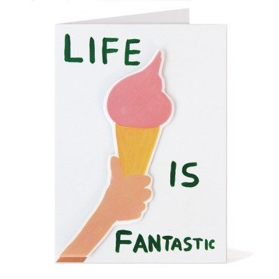 LIFE IS FANTASTIC PUFFY STICKER CARD DAVID SHRIGLEY